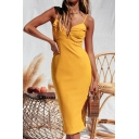 Sexy Womens Plain Notched Front Split Hem Backless Spaghetti Straps Sleeveless Midi Bodycon Slip Dress in Yellow