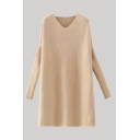 Apricot Chic Solid Color V Neck Long Sleeve Mini Shift Sweater Dress for Women