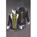 Cool Mens Hooded Sweatshirt 3D Cosplay Button Vertical Zigzag Printed Drawstring Zipper Fly Long Sleeve Slim Fit Hooded Sweatshirt