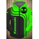 Mens Stylish Hoodie Colorblock Striped Letter Kawasaki Pattern Zipper up Slim Fitted Long Sleeve Graphic Hoodie