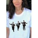 Womens T-Shirt Unique Figure Suit Tie Printed Crew Neck Short Sleeve Regular Fitted T-Shirt