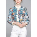 Light Blue Pop Cartoon Pattern Contrast Trim Single Breasted Stand Collar Long Sleeve Regular Fit Shirt for Women