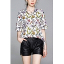 Vintage Womens All Over Floral Leaf Print Button Up Turn-down Collar Half Sleeve Relaxed Fit Blouse Top in White