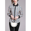 Pop Womens All Over Printed Contrast Trim Button Up Collared Full Sleeve Regular Fit Shirt in Blue