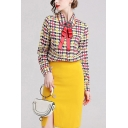 Retro Womens Houndstooth Printed Bow Front Button Up Peter Pan Collar Long Sleeve Regular Fit Shirt in Yellow