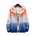 Basic Mens Jacket Ombre Zipper up Cuffed Long Sleeve Regular Fit Hooded Sun-Protective Jacket