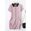 Formal Womens Ditsy Flower Printed Contrasted Short Sleeve Turn Down Collar Butotn Up Mid Shift Polo Shirt Dress in Pink