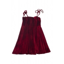 Popular Womens Solid Color Bow Tied Shoulder Velvet Mini A-line Pleated Cami Dress