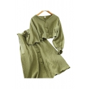 Glamorous Womens Solid Color Long Sleeve V-neck Fabric Button Up Regular Crop Top & Mid A-line Skirt Co-ords