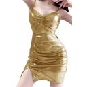 Amazing Womens Spaghetti Straps Ruched Mini Bodycon Slip Party Dress in Gold