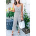 Cool Womens Jumpsuits Pinstriped Printed Wide Leg Sleeveless Spaghetti Strap 7/8 Length Loose Fitted Jumpsuits