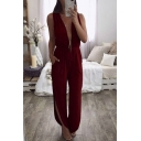 Cool Womens Jumpsuits Solid Color Split Detail Backless Deep V-Neck Regular Fitted Long Sleeveless Jumpsuits