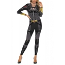 Classic Womens 3D Jumpsuits Cosplay Belt Clothes Printed 7/8 Length Long Sleeve Mock Neck Slim Fitted Jumpsuits
