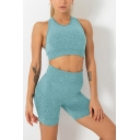 Sportive Womens Solid Color Fast Dry Scoop Neck Sleeveless Crop Racerback Tank Top & High Waist Shorts Skinny Stretch Fitness Sports Yoga Set