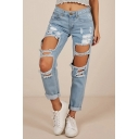 Vintage Womens Blue Jeans Light Wash Distressed Low Waist Zipper Fly Regular Fit 7/8 Length Tapered Jeans