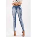 Classic Womens Jeans Faded Wash Pleated Zipper Fly Ankle Length Slim Fit Tapered Jeans