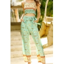 Ethnic Womens All Over Floral Printed Spaghetti Straps Stringy Selvedge Fit Crop Cami Top & Long Wide-leg Pants Set in Green