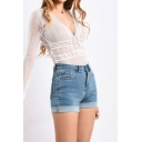 Novelty Womens Blue Shorts Faded Wash Roll-up High Waist Slim Fitted Zipper Fly Denim Shorts