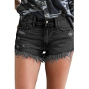 Womens Shorts Fashionable Frayed Hem Ripped Regular Fitted Zipper Fly Denim Shorts with Washing Effect