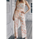 Classic Womens Jumpsuits Tie Dye Bow-Knot Waist Sleeveless V Neck Spaghetti Strap Loose Fitted Jumpsuits