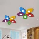 Yellow Flower Flush Mount Light Cartoon LED Metallic Ceiling Flush for Children Room