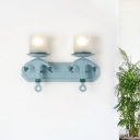 Resin Anchor Wall Mount Lighting Mediterranean 1/2 Light Wall Lamp with Cylinder Opaque Glass Shade in Blue