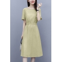 Simple Womens Solid Color Gathered Waist Crew Neck Short Sleeve Midi A-Line Dress