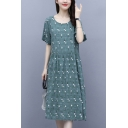 Pretty Ditsy Floral Printed Gathered Waist Pleated Crew Neck Short Sleeve Midi A-Line Dress for Women