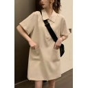 Stylish Ladies Solid Color Short Sleeve Turn Down Collar Button Up Pockets Patched Mid Shift Polo Shirt Dress