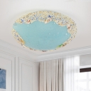 Dome Bubbled Glass Flush Mount Coastal Blue/Light Blue LED Ceiling Lighting with Sand and Conch Design