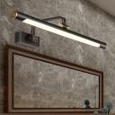 Tubular Metal Vanity Sconce Light Modernist LED Black Adjustable Wall Mounted Lamp with Curved Arm