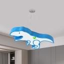 Dinosaur Hanging Chandelier Cartoon Acrylic Pink/Blue LED Ceiling Suspension Lamp for Kindergarten