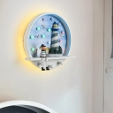 Lighthouse Bedroom Sconce Light Wood LED Kids Wall Lighting with Metal Round Shade in Blue