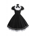 Medieval Cosplay Short Sleeve Bow Tied Stand Collar Lace Trim Patched Midi Pleated Flared Dress for Girls