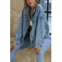 Street Womens Long Sleeve Spread Collar Button-up Pockets Patched Loose Crop Denim Jacket in Blue