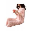 Simple Womens Lace Trim 3/4 Sleeve Crew Neck Relaxed T Shirt & Straight Pants Pajamas Set in Pink