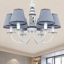 Nordic Barrel Pendant Chandelier Fabric 6 Lights Bedroom Hanging Lamp Kit with Lighthouse Column Design in Blue