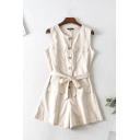 Trendy Womens Rompers Solid Color Round Neck Sleeveless Button-through Tie Flap Pockets Wide-leg Rompers