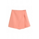 Women's Fancy Skort Solid Color High Waist Zip Placket Short Straight-leg Asymmetrical Skort