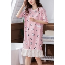 Pink Chic Heart Print Hollow Out Lace Patchwork Ruffle Hem Pocket Round Neck Short Sleeve Oversized Midi T Shirt Nightdress for Women
