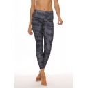 Fashion Womens Leggings Camouflage Pattern Top-stitching High Rise Ankle Length Skinny Stretch Regular Leggings for Training