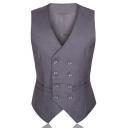Solid Color Double Breasted Buckle Back Slim Fit Suit Vest for Men