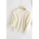 Fashionable Womens Plain Knitted Long Sleeve Crew Neck Scalloped Regular Fit Crop Pullover Sweater Top