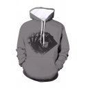 Cool Mens 3D Poker Card Pattern Letter Bicycle Pocket Drawstring Long Sleeve Fitted Graphic Hoodie