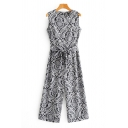 Basic Womens Jumpsuits Paisley Printed Bow-Tie Waist Zippered Wide Leg Sleeveless Crew Neck Loose Fitted Jumpsuits