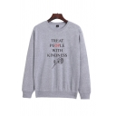 Unique Rose Floral Letter Treat People With Kindness Graphic Printed Crew Neck Long Sleeve Relaxed Fit Pullover Sweatshirt