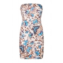 Sexy Leopard Butterfly Printed Strapless Mini Bodycon Tube Dress for Ladies