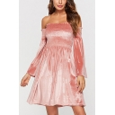 Fashionable Womens Solid Color Ruched Stringy Selvedge Backless Off the Shoulder Bell Sleeve Midi A-Line Dress in Pink
