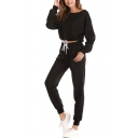 Athletic Solid Color Drawstring Hem Long Sleeve Crew Neck Regular Fit Crop Pullover Sweatshirt & Cuffed Ankle Length Tapered-Leg Pants Set