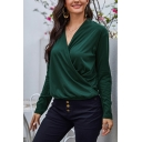 Elegant Ladies Green Long Sleeve Surplice Neck Relaxed Fit Blouse Top